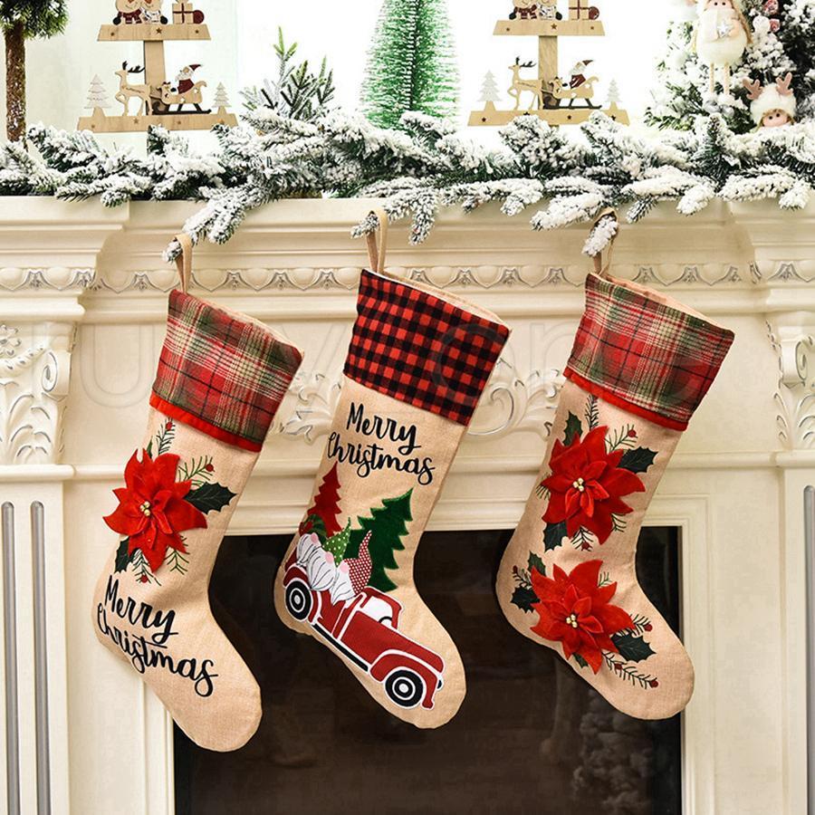 Creativo Babbo Natale calzini del fumetto Carino Calze Candy Bag regalo per alberi di Natale Festa di Natale Decorazione RRA3459