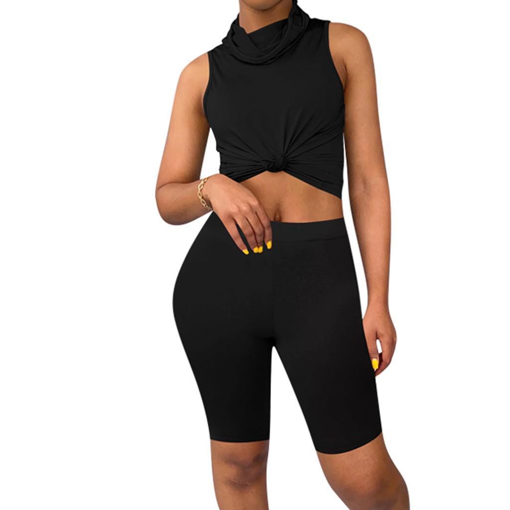 Crop Top Casual Deux sport Masque solide Mode d'été Sport Couleur Femmes Set Biker Short Piece Rose dqSHm