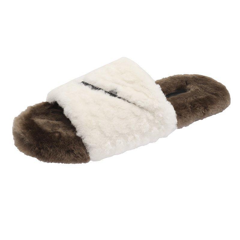 2020--6 pantoufles en laine pantoufles en coton en peluche à l'usure extérieure 2020 automne et coton tête ronde de ménage d'hiver en daim pantoufles chaussures femmes