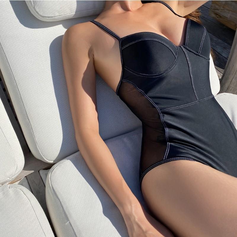 tyCTc yBMPg 20 örten ins siyah tek parça tanrıça muhafazakar plaj Yeni zayıflama ve Backless kadın göbek tatil kaplıca sw mayo