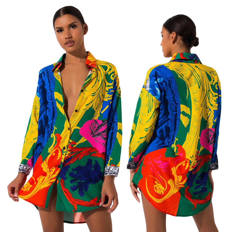 Nouvelle mode des femmes Robe chemise à manches longues Vestidos Designer robes colorées One Piece peint de vente de vêtements