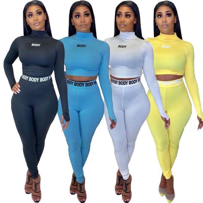 Frauen Anzug Zwei Stücke Set Plastik fester Buchstabe-Druck reizvolle hohe Taille Langarm-Tops Hosen Solid Color 4 Farben Damen Outfits Neue