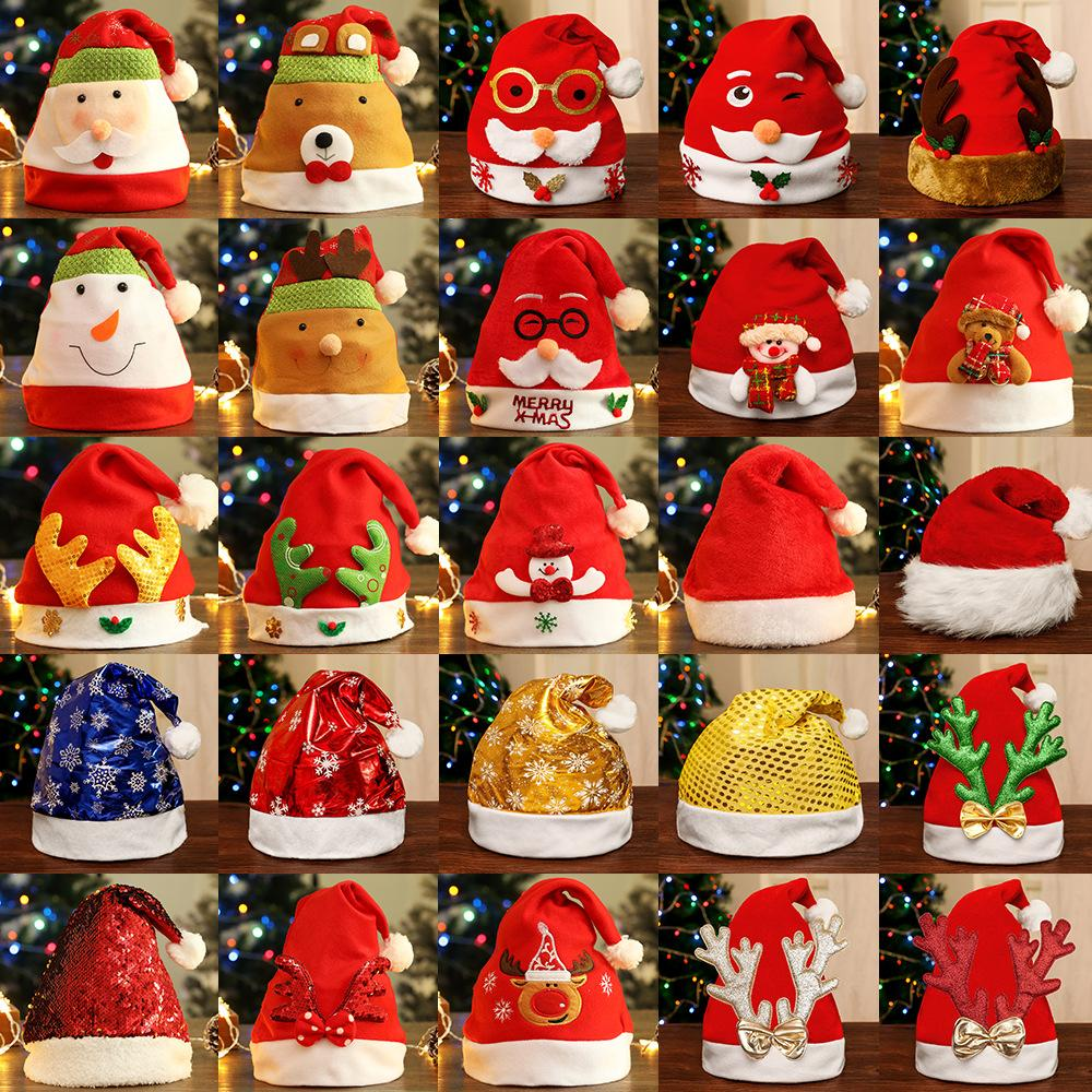 2020 Christmas Hats Red And White Child Cartoon Christmas Hat Santa Claus elk led Glowing hat Christmas theme party Decoration For kids
