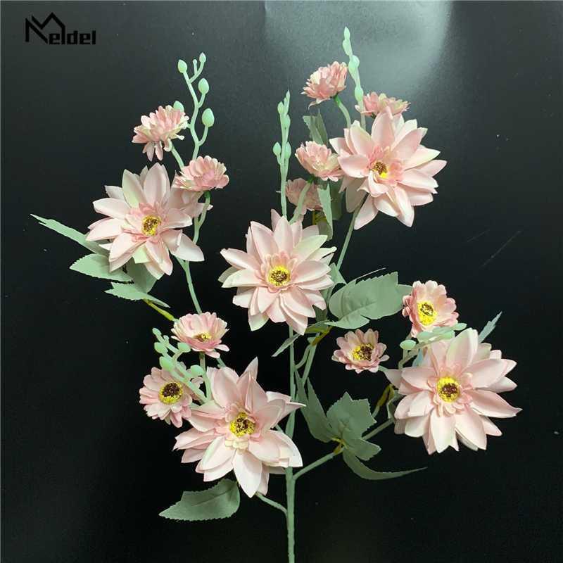 Meldel искусственный цветок георгин шелк 5-вилка георгин цветок филиал дома крытый дисплей букет свадьба украшение фальшивка