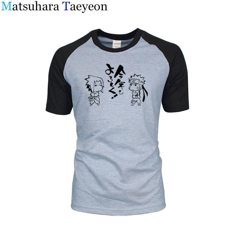 Homens camiseta 100% algodão de alta qualidade Neck T-Shirt lazer moda japonesa dos desenhos animados Naruto imprimir tema