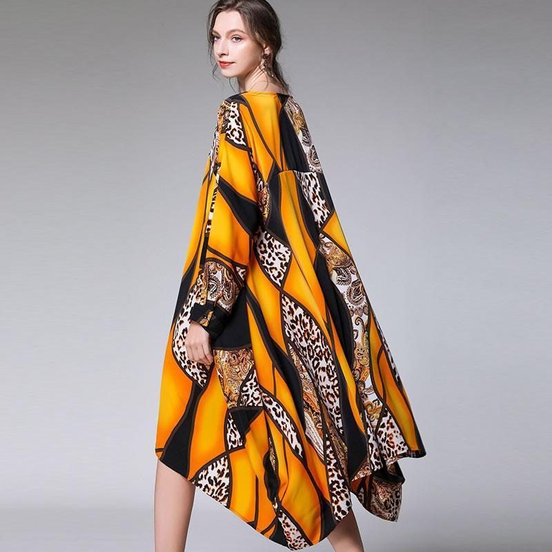 Xitao Tide Artı boyutu Baskı Elbise Kadın Giyim 2020 Moda Yeni V Yaka Tam Kol Kapak Göbek Şık Elbise Günlük DMY2936