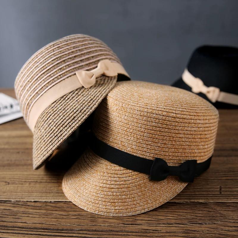 Британской ретро Конноспортивного Hat лето женщин Flat Top Ribbon шлемы Sun дышащего Мягкая дышащие Женщины Соломенная Visor Лук Бич Cap