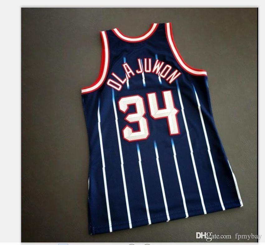 Özel Erkek Gençlik Kadınlar Vintage Hakeem Olajuwon Mitchell Ness 96 97 Koleji Basketbol Forması Boyutu S-4XL veya Özel Herhangi Bir Adı veya Number Jersey