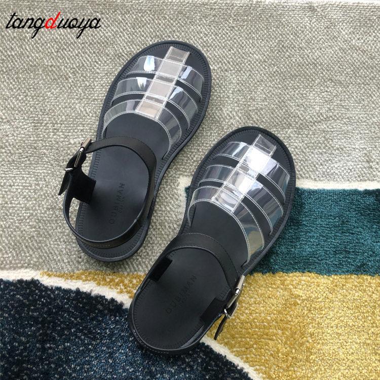 planos transparentes das sandálias da moda Women verão Clip-Toe Transparente Shoes forgirl Strap Sandals Roman Plano Ladies