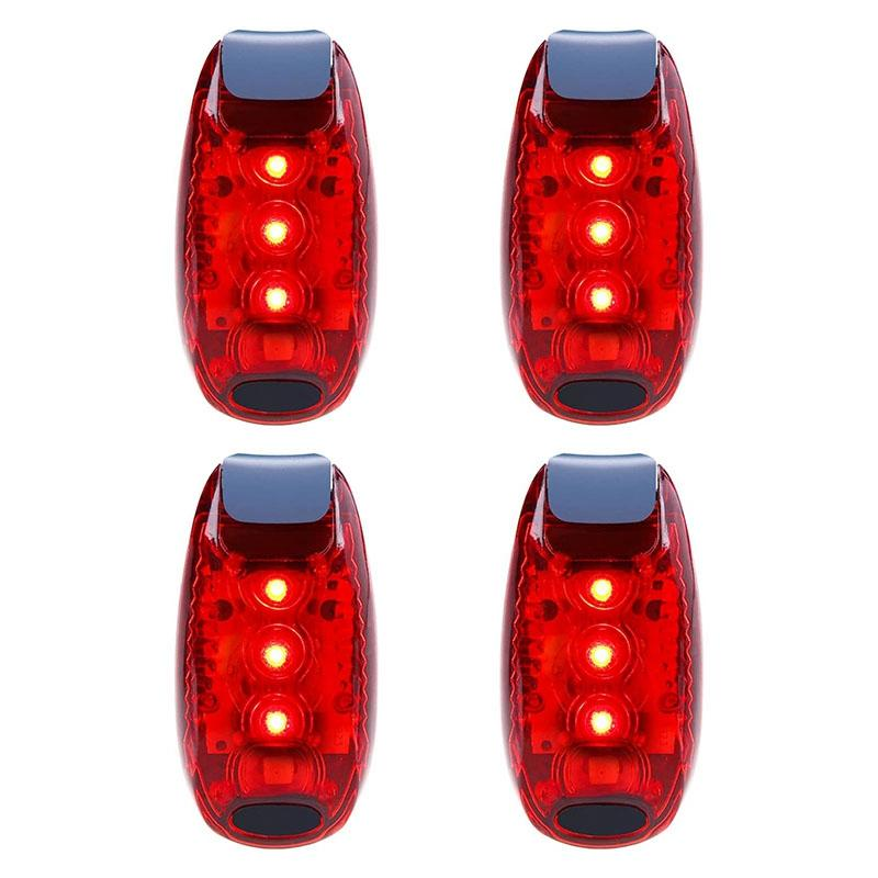 4 Pcs Luz de Segurança Waterproof Red Flashing bicicleta Luz traseira, apropriado para Correr, Andar, Andar de bicicleta, capacete, etc.