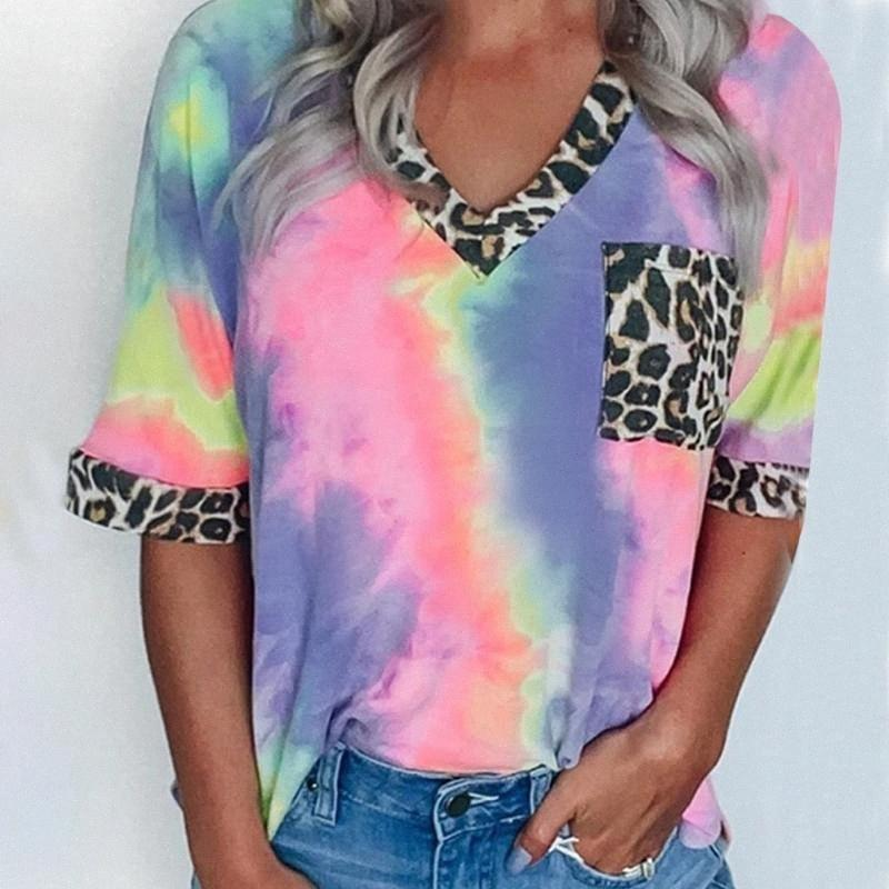 Le donne con scollo a V T-shirt gradiente multicolore Camicia modello manica corta Top Estate T-shirt stampata 2020 Lady Blusa allentato casuale Tops kPx7 #