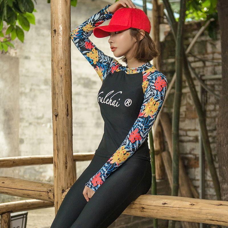 8YGjG 3oBiZ göbek kapsayan tarzı bahar bölünmüş uzun kollu pantolon üç parçalı muhafazakar mayo Koreli zayıflama sıcak çiçek kadın ayarlamak