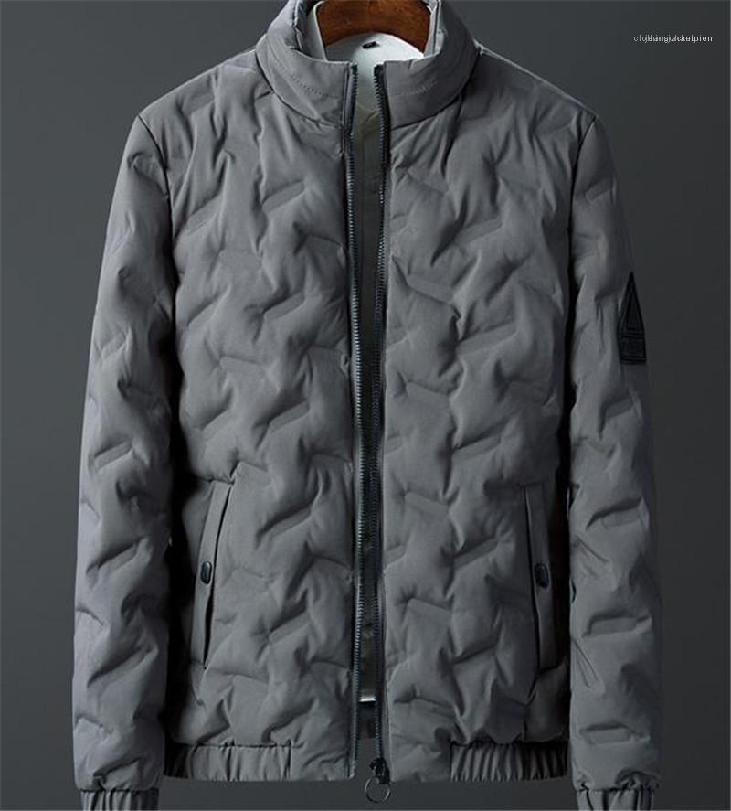 Vers le bas Mode lambrissé Zipper Hommes épais Manteaux d'hiver poches Casual hommes Vêtements Solide Couleur Mens Designer