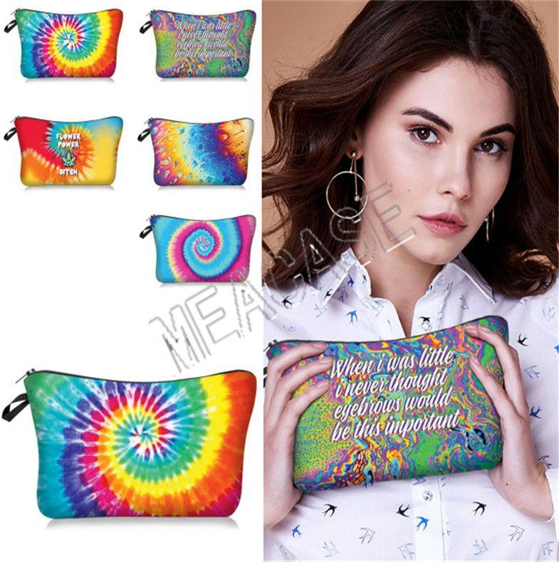 Women Letters Cosmetic Bag Purses Toiletry Fashion Ladies Makeup Tie-dye Bags Hand Handbags Pouch Storage Clutch ZipPurses D812 Gpocg