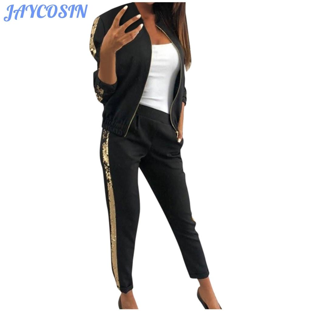 JAYCOSIN donne i vestiti degli insiemi tuta Paillettes Cuciture giacca sportiva a maniche lunghe e pantaloni Sport Fitness Outfits T200808