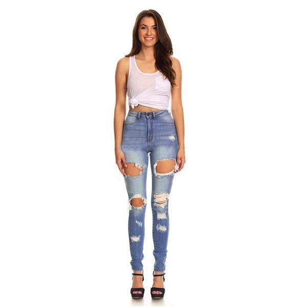 Mode de nouvelles femmes en haillons jeans, moulants jean denim, déchiré jeans femmes sexy étirement mi-taille coupe slim, jeans femmes crayon sexy