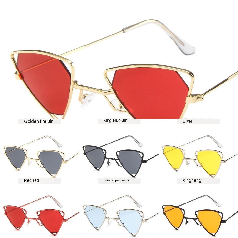 Metal kişiselleştirilmiş tarzı üçgen poligon güneş serseri güneş gözlüğü güneş oLnSu gözlük