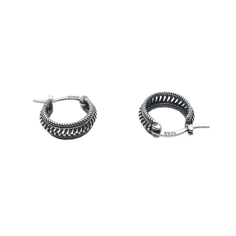 Fragrance Vintage Punk Style Hollow S925 Sterling Silver Ear Clip Earrings Female Dark Hip-hop Cool Earrings Male