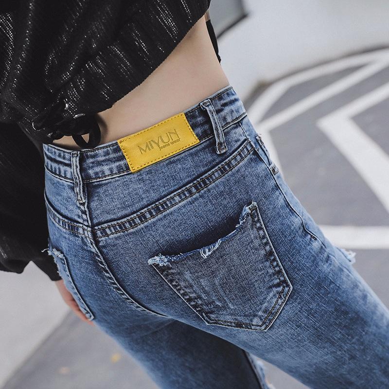 IBgya 2020 verano nueva grasa mm grandes vaqueros lápiz lápiz de las mujeres de los pantalones vaqueros de tamaño hasta los tobillos los pantalones azul pantalones slim