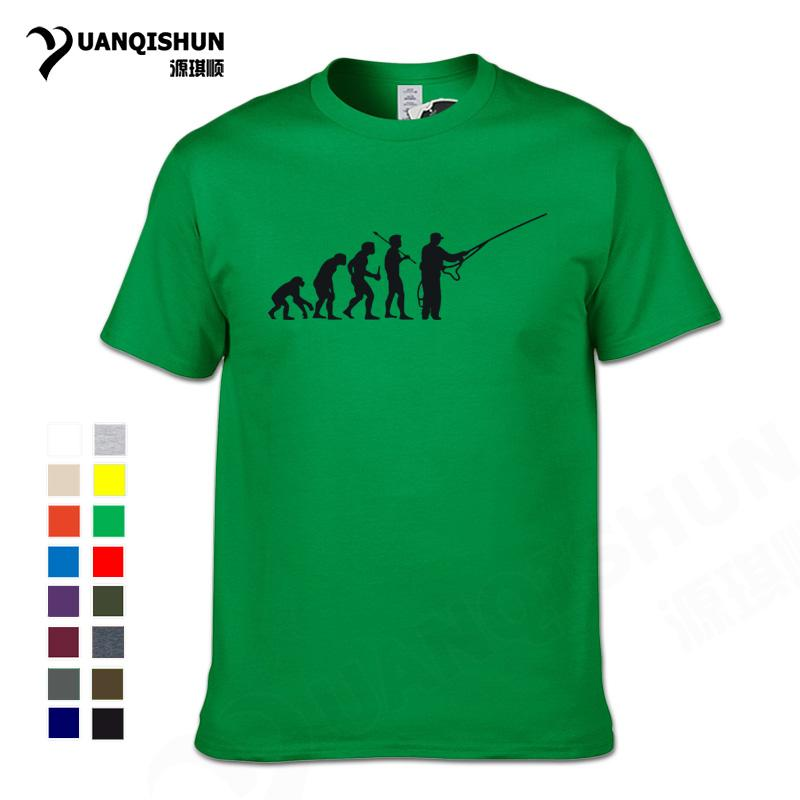 New 2018 Mode-Evolution Fishinger-T-Shirt Mann-Sommer-Fisch-Witz-Fischer-Karpfen-T-Shirts Lustiges Geschenk Baumwolle Kurzarm-T-Shirt