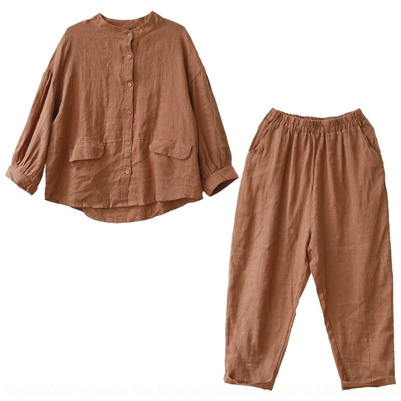 GWCYx yidd3 Gevşek büyük boyutlu sanatsal ve takım elbise kadın uzun kollu pamuklu Ayak bileği uzunlukta pantolon harem dokuz maddelik pantolon gömlek keten pamuk keten
