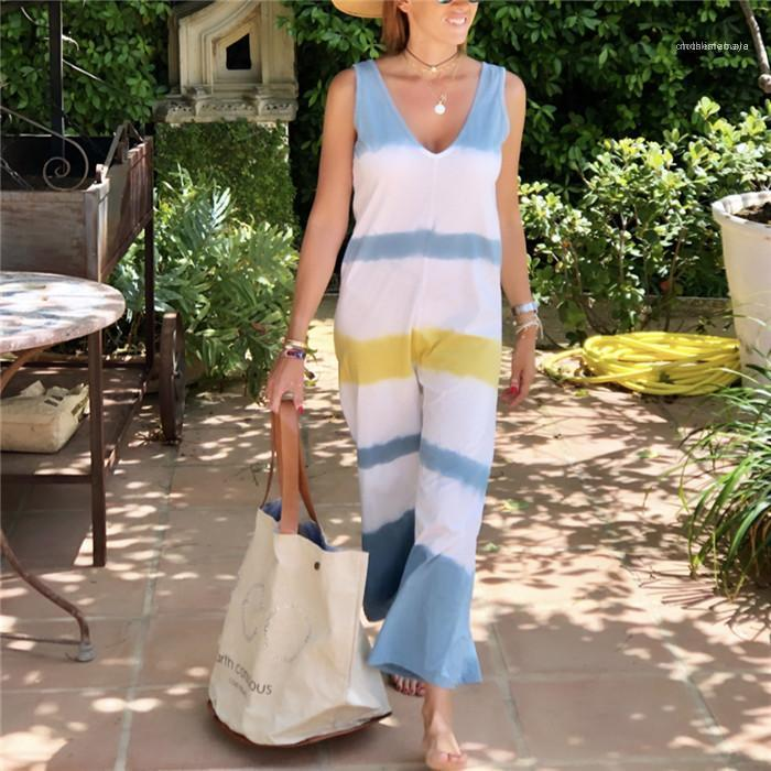 Женская Комбинезон Ромпер рукавов полосатой Цветочные Комбинезон Летние повседневные женские брюки широкие ноги Ромпер женщин Сыпучие