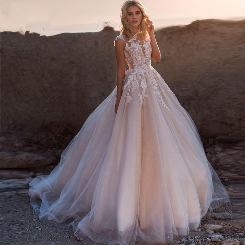 trouwkleed 2020 colher Lace Applique A Line Wedding vestidos sem mangas Tulle Boho nupcial vestido vestido de noiva Trem longo