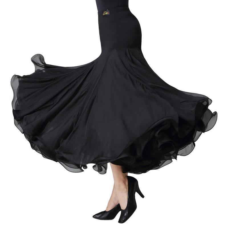 nouvelle danse de salon de style boursouflé jupe pratique tango robe longue valse jupe vêtements danceing populaire SOIRÉE noir