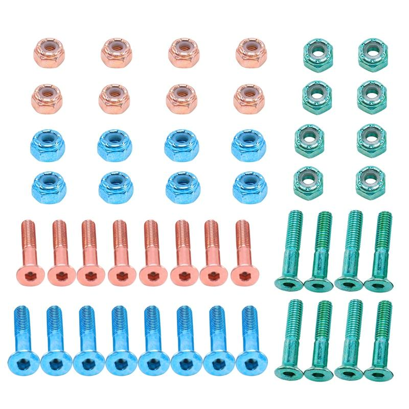 볼트 2.54 cm / 1 인치 24PCS 플랫 헤드 교체 스케이트 보드 트럭 하드웨어 롱 보드 장착 나사 세트