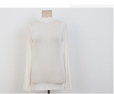 baoGH 2020 sıkı üst iç Kore yarım balıkçı yaka baz kadınların yeni dar kesim uzun kollu tişört katı Coat tişört üst rengi