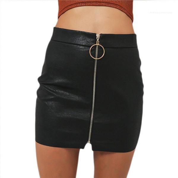 Cuoio sexy delle donne Gonne Gonna a vita alta unità di elaborazione sexy autunno metallo Hoop Zipper Gonna Slim Minigonna