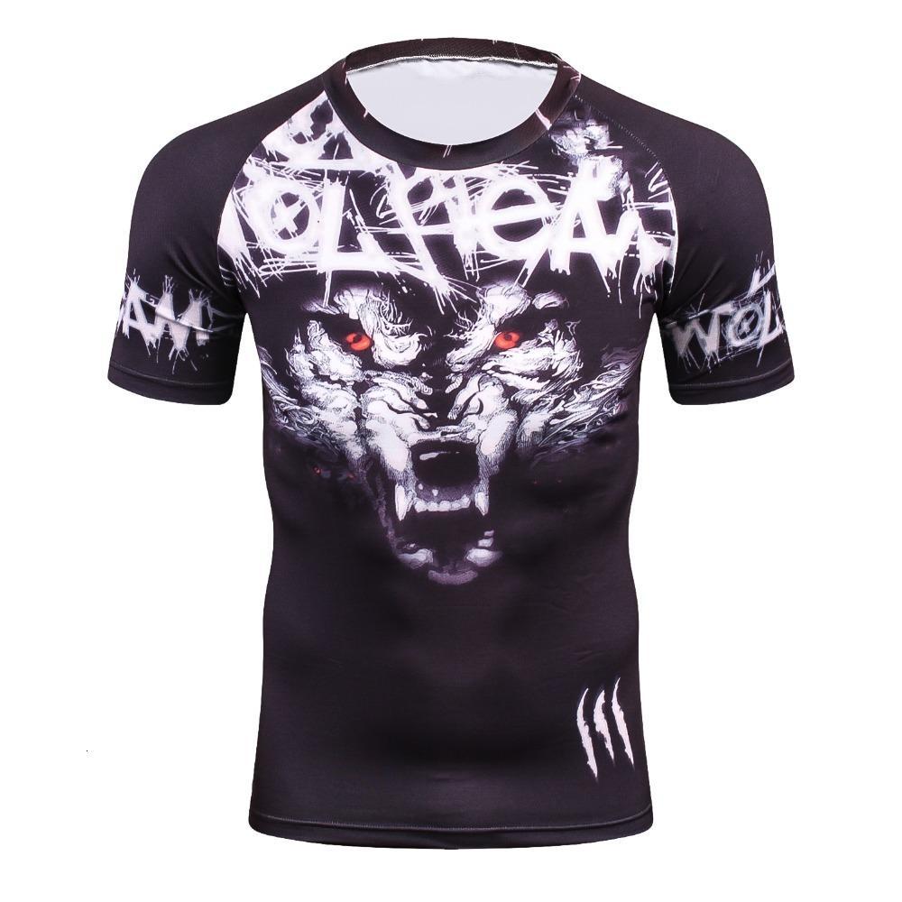 T-shirt do verão 3D Comprion Camiseta Homens Chegada Novo Marca masculinas divertidas Lobo Top Atacado T-shirt de alta qualidade Qui Secagem