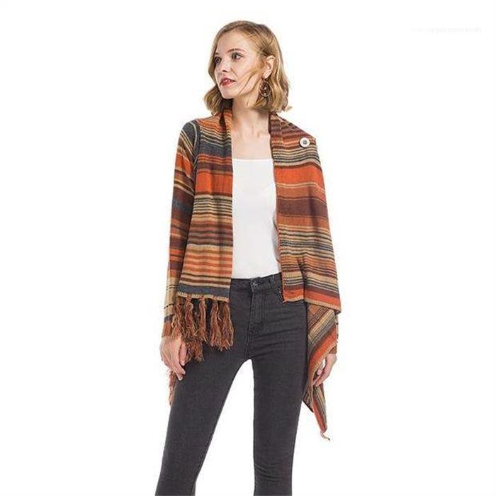 Кардиган пальто с длинным рукавом свитера женщин Новый дизайнер Вязание пальто зима Полосатый кисточкой свитер с кнопкой