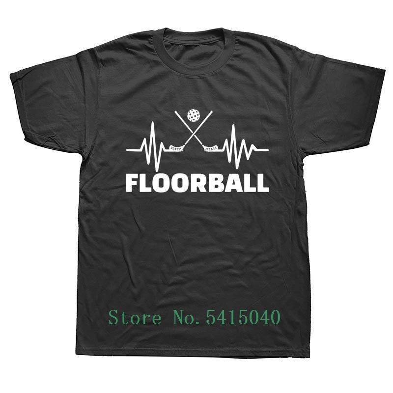 Latido del corazón de Floorball cumpleaños de t camisas hombres Streetwear verano Harajuku en cortocircuito el O Cuello Negro Camiseta