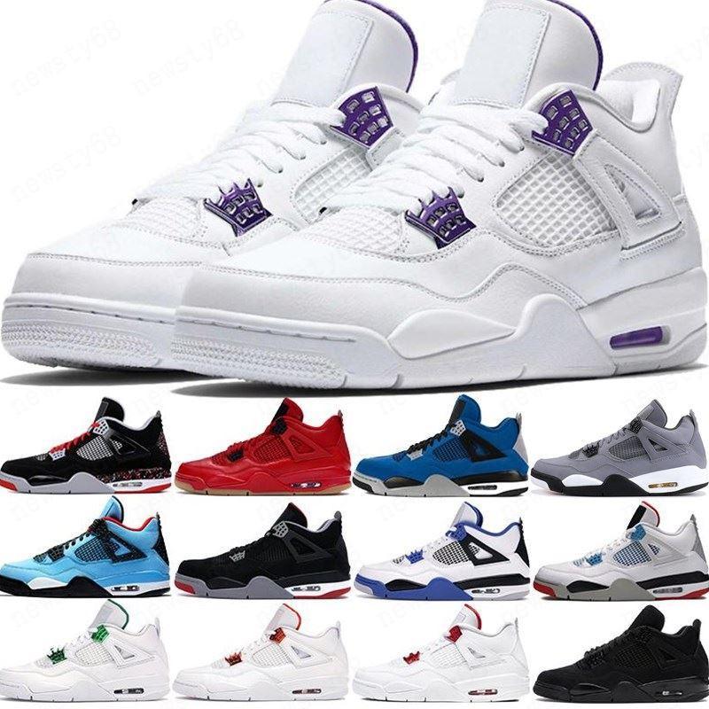 2020 Kara kedi 2020 4 4s Jumpman basketbol ayakkabıları yetiştirilen neon kanatları ABD 7-13 kaktüs jak beyaz çimento mens stilist spor ayakkabıları eğitmenler encore