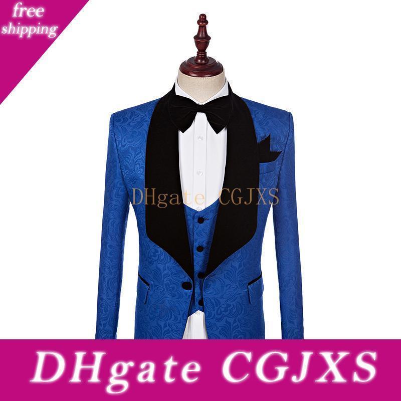 Custom Made Groomsmen Şal Yaka Damat smokin Bir Düğme Erkekler Suits Düğün / Akşam Sağdıç Blazer (Ceket Pantolon Bow Tie Yelek) K663