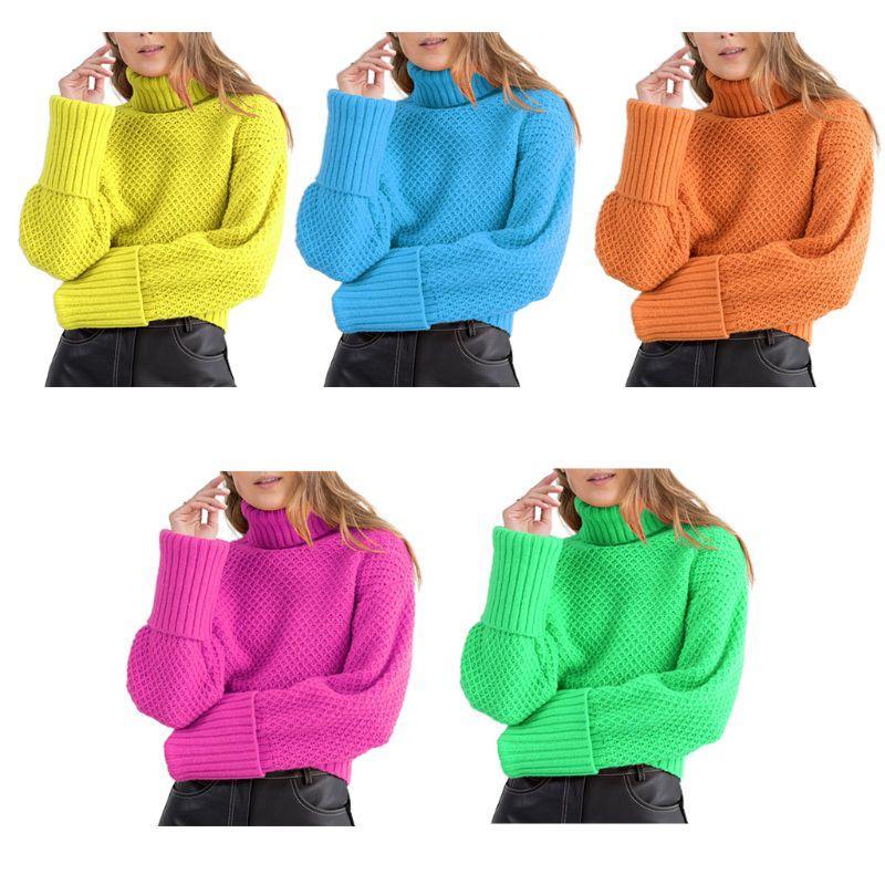 여성 긴 소매 와플 니트 스웨터 터틀넥 형광등 네온 단색 느슨한 스웨터 점퍼 스트리트 탑