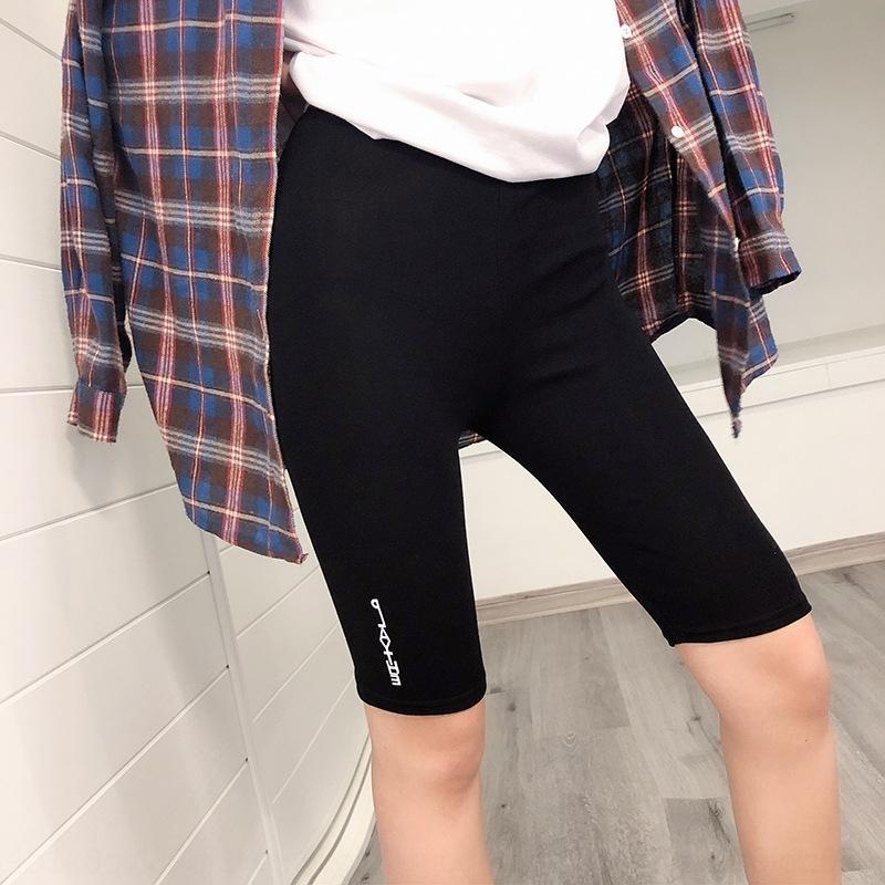 eZF2q estate vita leggings nuova stampata lettera di stile coreano alta casuali cinque punti di yoga tenuta Yoga casuali di sport dei pantaloni di bicchierini pantaloni stretti