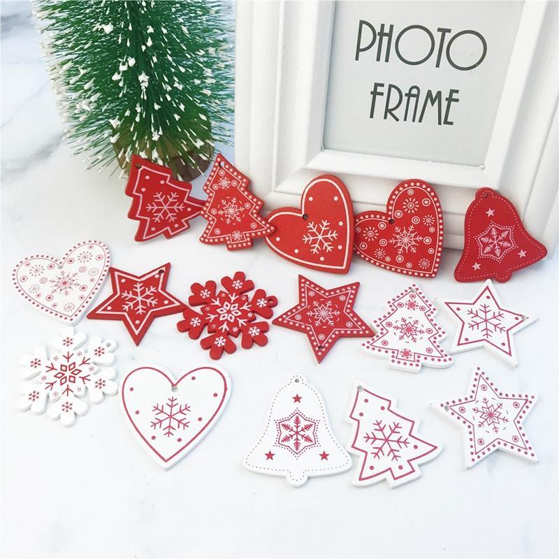100pcs 5cm adornos de Navidad colgando de madera colgantes de la estrella del árbol de Navidad la fiesta en casa de Bell de navidad decoraciones para Año Nuevo Navidad