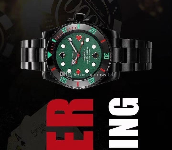 diseño 40MM versión de personalización de póquer blaken negro automático de los hombres reloj de la pulsera del reloj de zafiro Bisel 116610 orologio di Lusso