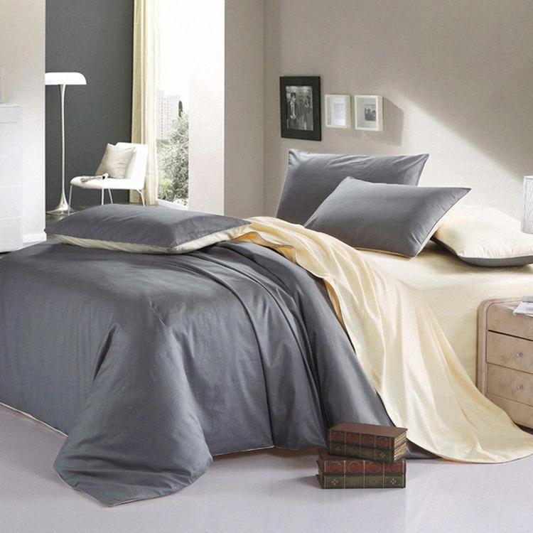 Commercio all'ingrosso ROMORUS 100% cotone sano pieno / Re Super King / dimensione solido Pure Color Designer Federa semplice moderna Copripiumino Set C mjlx #