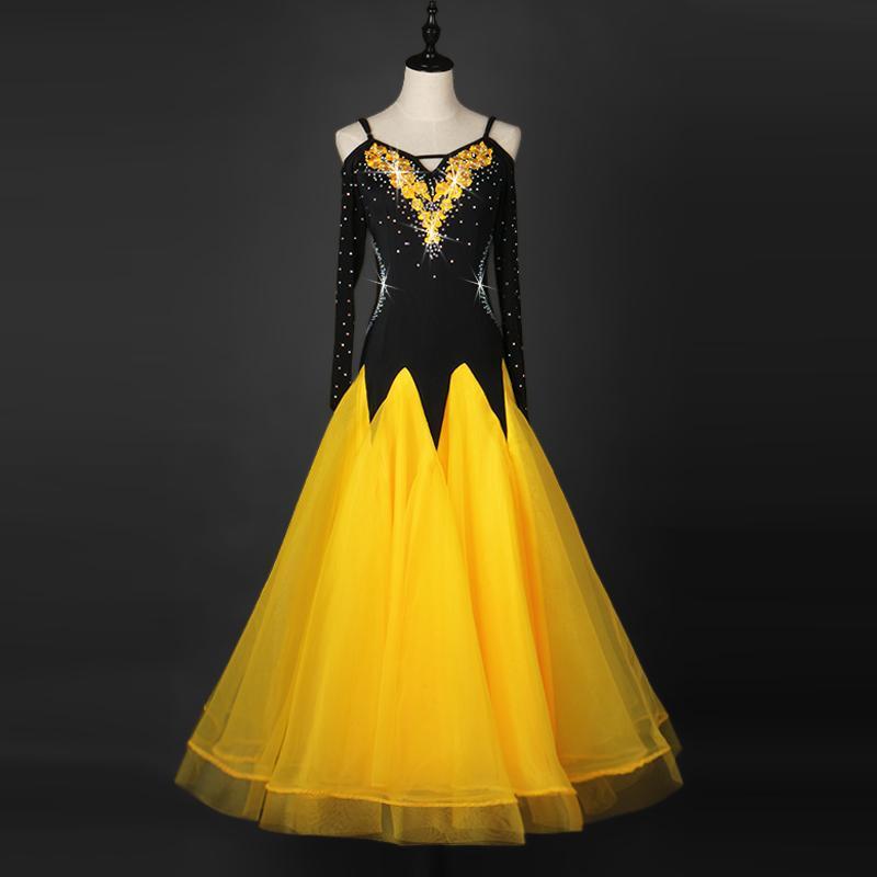 Bühne tragen professionelle Kleider Standard für Mädchen Mädchen Frauen Wettbewerb Damen Black 2021 Womens Ballroom Tanzkleider mit langen Ärmeln
