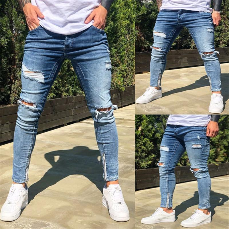Distrressed lunghi pantaloni della matita Street Style Abbigliamento Uomo Nuovo stile del progettista del Mens Jeans Moda lavato e