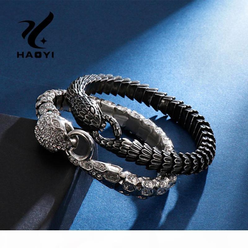 Joyería de los encantos HAOYI pulsera de acero inoxidable de la vendimia de la serpiente animal para el Hip Hop de los hombres de acero de titanio Zircon del mosaico del brazalete