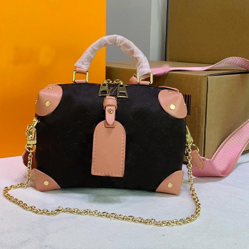 High Quality Women Handbag Purse Petite Malle Souple Handbags Rivet Corner Embroidered Removable Strap Shoulder Bag Trunk Box Messenger Bag