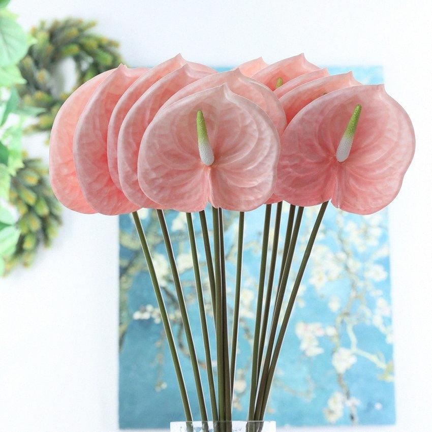 3D Printing Anthurium Flores artificiais ramo para decoração de casa tabela do casamento Fake Plastic plantas fleur artificielle Rh6V #