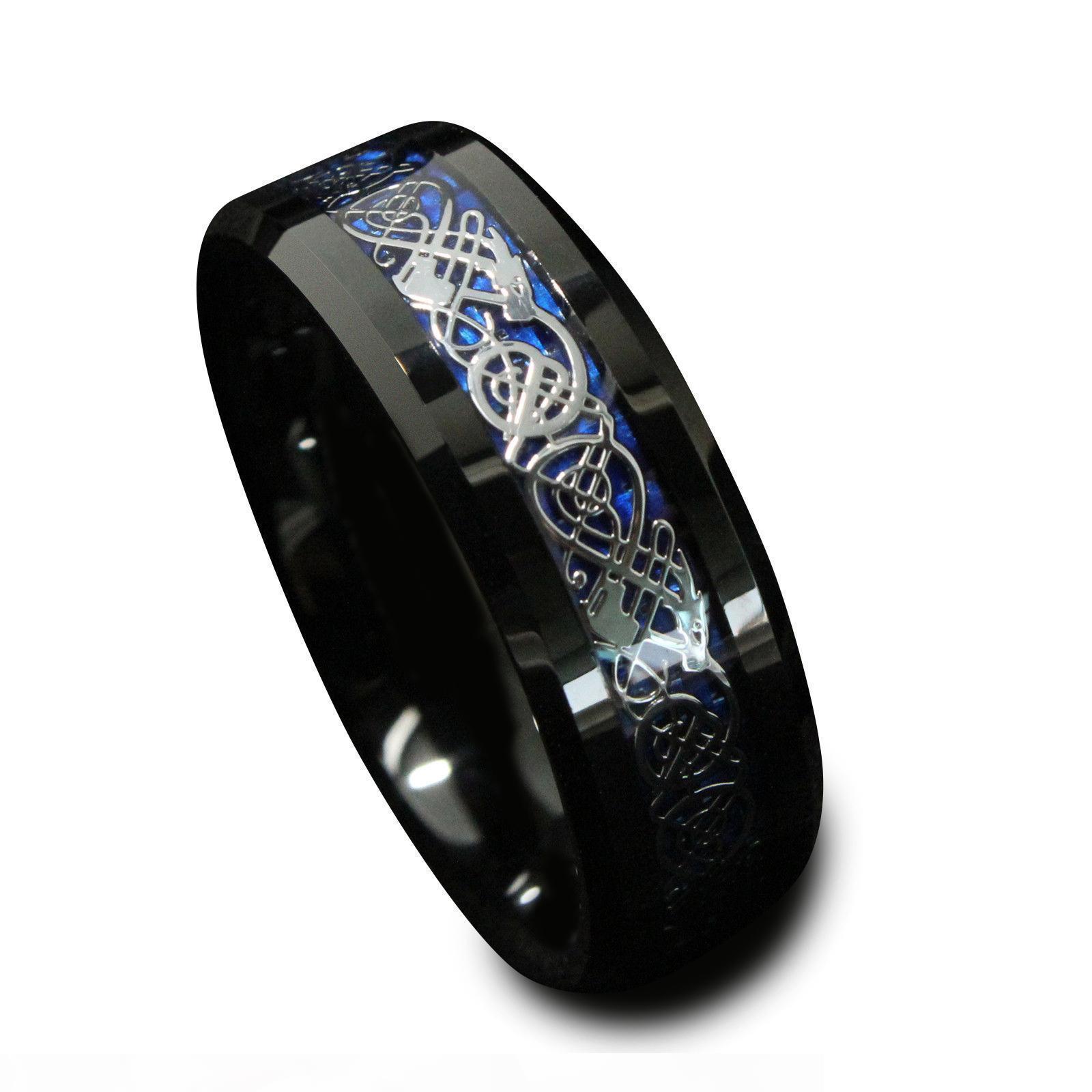 8 milímetros Preto Tungstênio anel de noivado Silvering Dragão celta azul Carbon Fiber Wedding Mens Banda Bijuterias US Tamanho 6-13