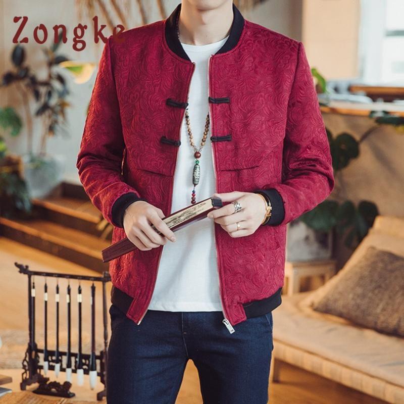 Zongke Chinese Style Floral Jacket Men Fashions Hip Hop Streetwear Bomber Jacket Men Coat Coat 5XL 2020 Autumn New