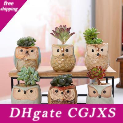 Owl Pot Ceramic Flowing Glaze Base Succulent Plant Pot Cactus Flower Pot Container Planter Bonsai Pots Perfect Design Gift