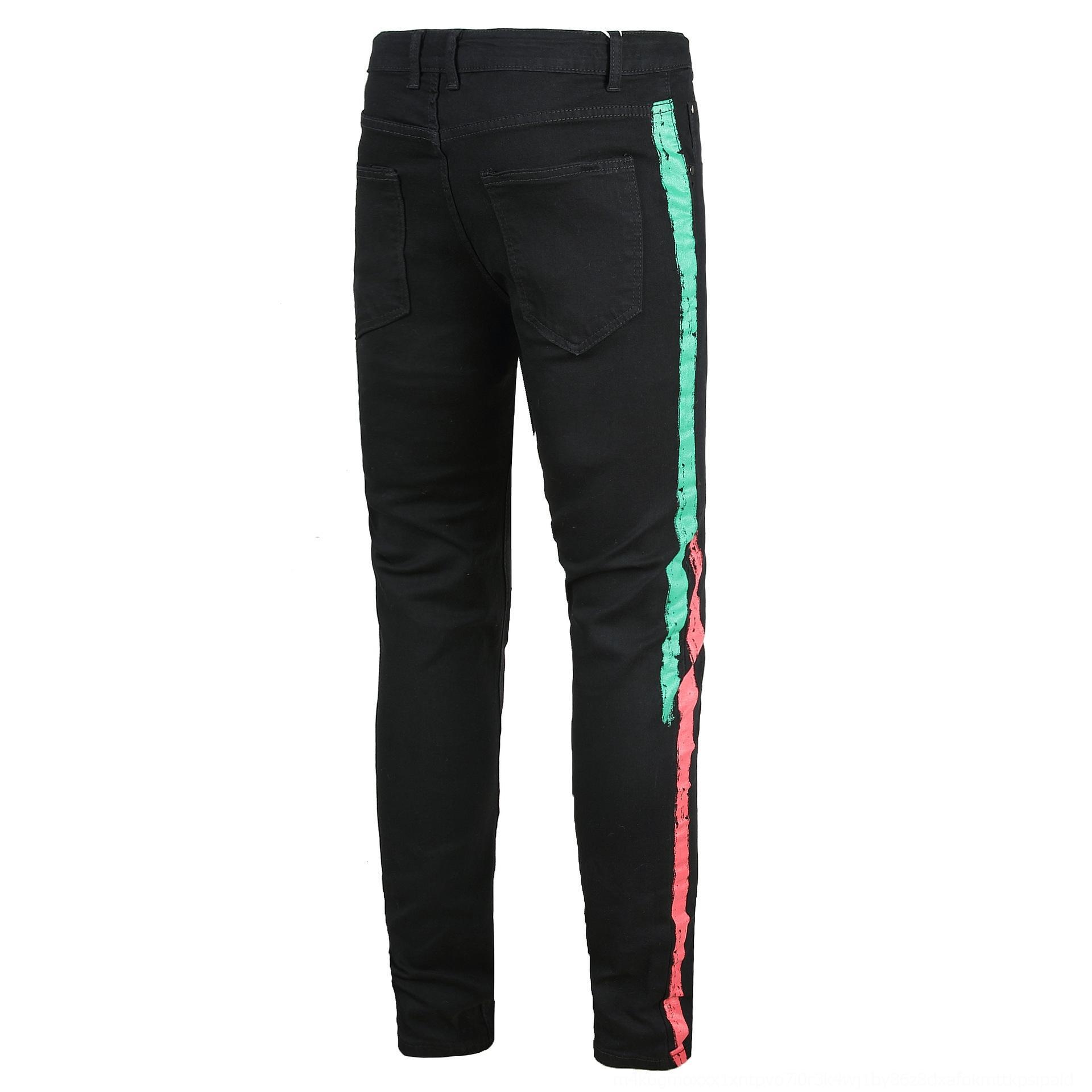 7Ys9G Männer und Hosen und Jeans personalisierte Seite lässig Stretch-Jeans in Mode Herrenhosen gedruckt